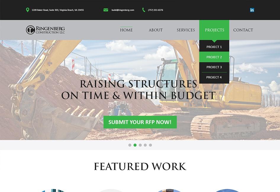 Website Design for Ringenberg Construction website redesign