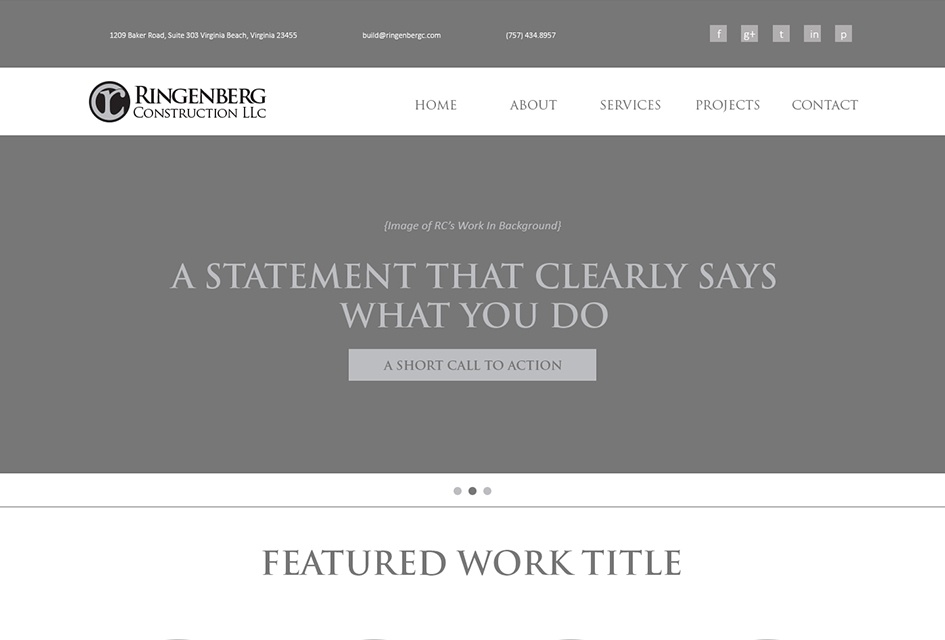 Web Design Wireframe for Ringenberg Construction website redesign