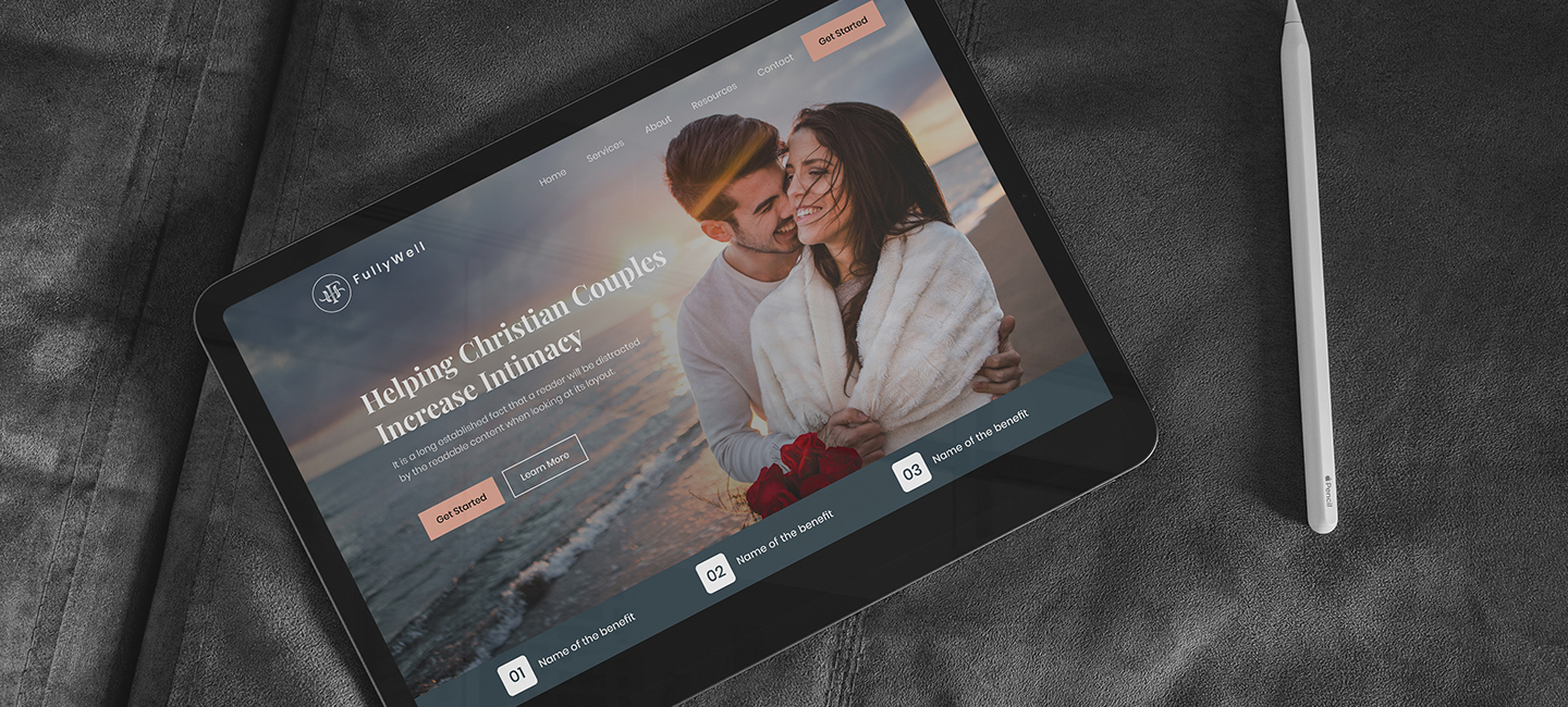 Fully Well web design on tablet sitting on a bed light Case Study Image