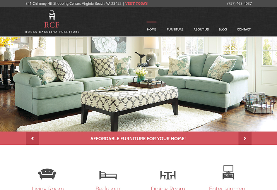 Website Homepage layout designed by Eternal Works for the Rock's Carolina Furniture website redesign