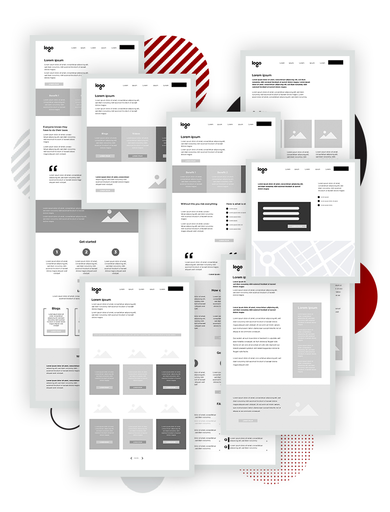 pixel website wireframes-with circles