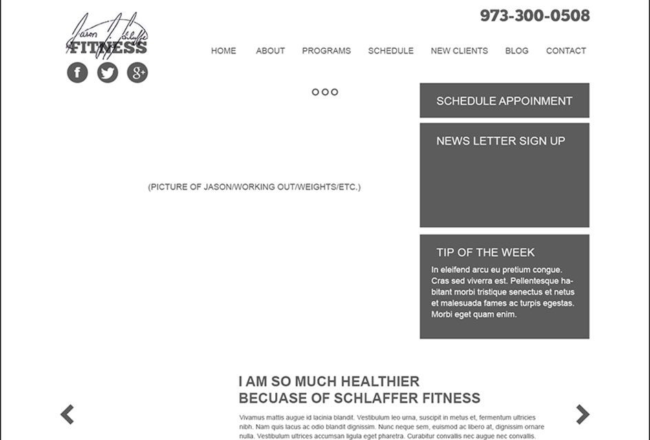 The wireframe used to outline the new website design for Exervolve Fitness