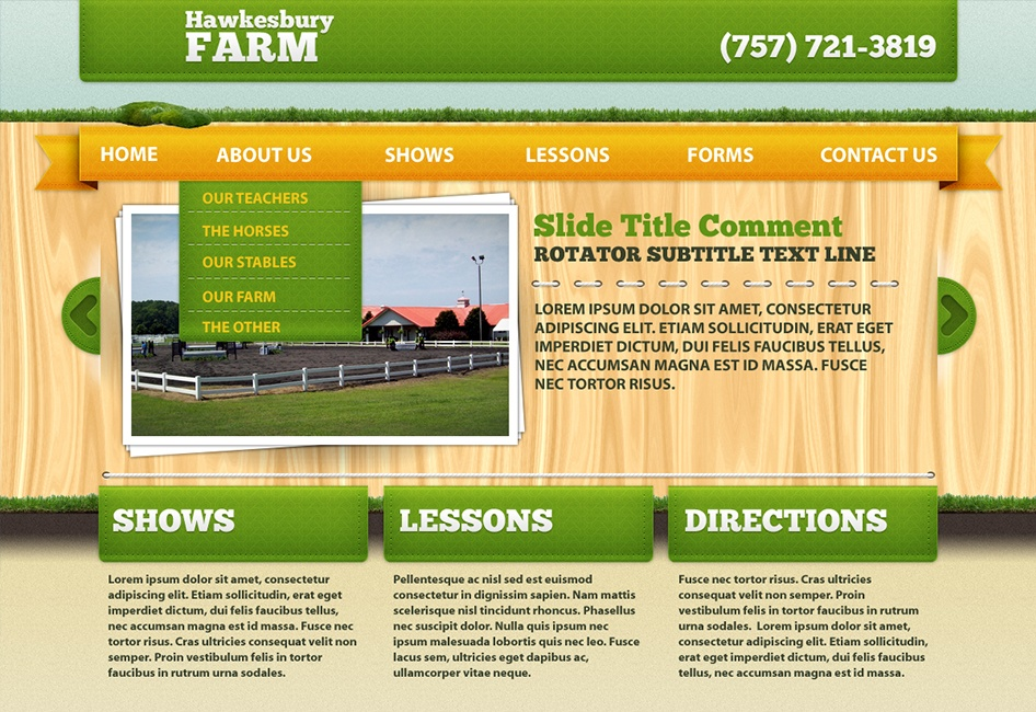 The Web Design by Eternal Works made from the Hawkesbury Farm wireframe