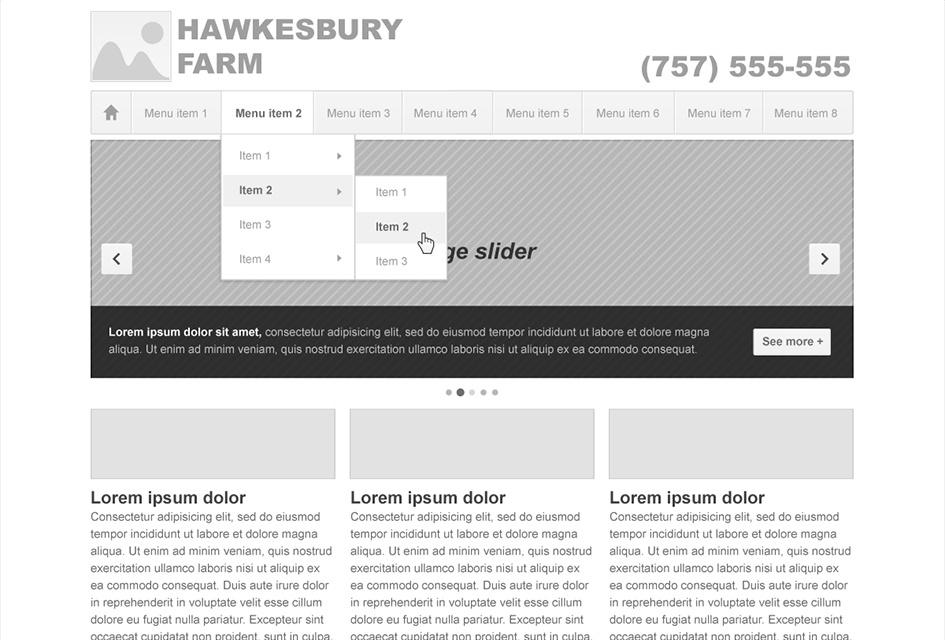 Website Design Wireframe for Hawkesbury Farm