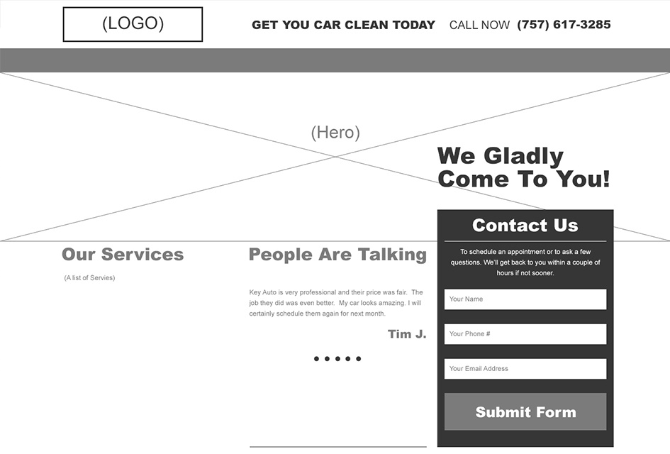 The wireframe created by Eternal Works for Key Auto Detailing's website redesign