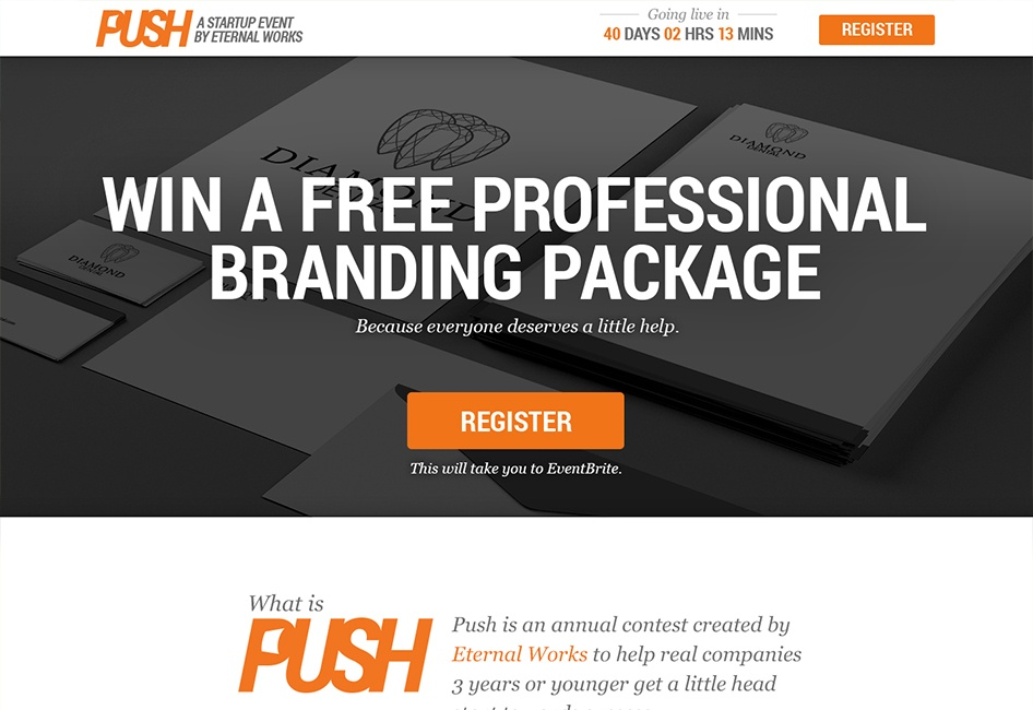 The Push Start web design by Eternal Works