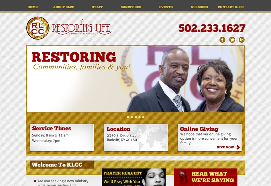 The Restoring Life Church Website redesign by Eternal Works