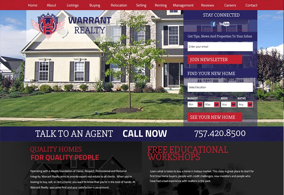 The Warrant Realty web design by Eternal Works