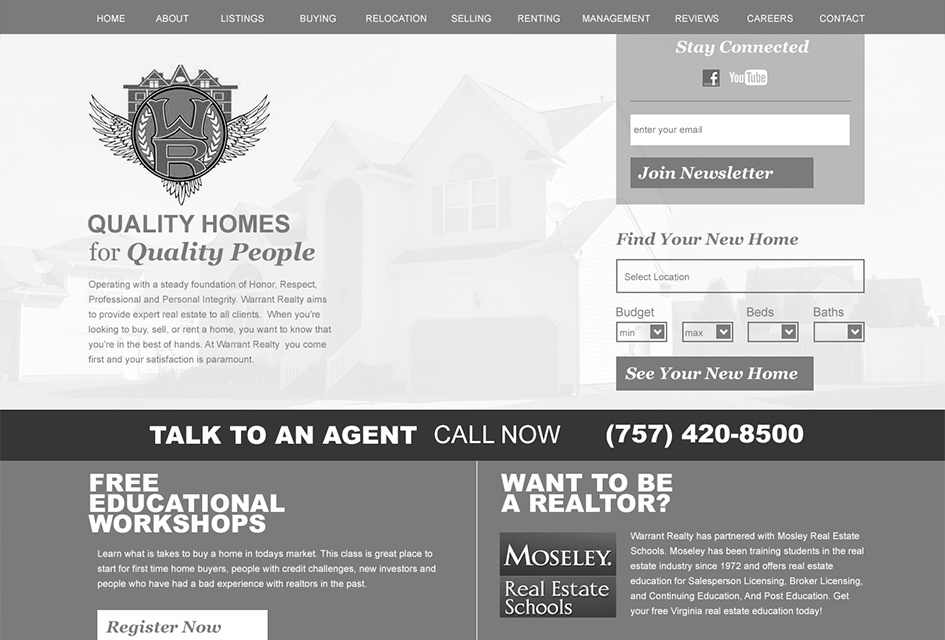 The wireframe used to map out the Warrant Realty web design